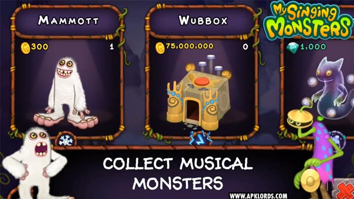 my singing monsters unlimited diamonds mod apk